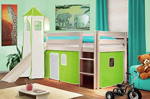 Hochbett Kinderbett Spielbett mit Turm und Rutsche Massiv Kiefer Weiß - Grün/Weiß - SHB/42/1032