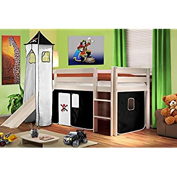 Kinderhochbett mit rutsche maße  Hochbett Kinderbett Spielbett mit Turm und Rutsche Massiv Kiefer ...