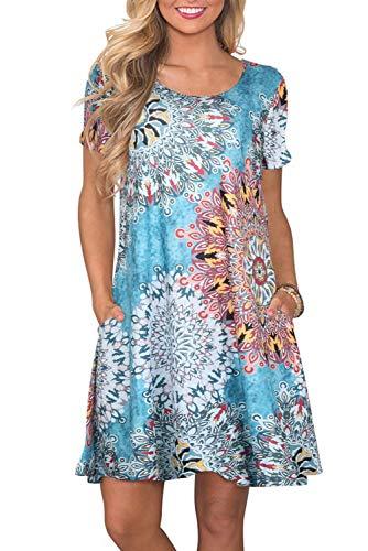 Sommerkleid Damen T Shirt Kleid Rundhals Kurzarm Minikleid Kleider Langes Shirt Lose Tunika mit Taschen, Blau-grün, XX-Large