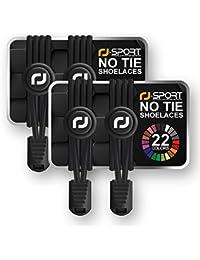 Cordones Elásticos con sistema de cierre rápido–Cordones para Exclusivo comodidad, ajuste perfecto y fuerte sujeción–1año 100% satisfacción Promesa, negro-negro