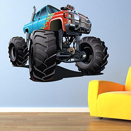 azutura Blau Red Monster Truck Wandaufkleber kühlen Fahrzeug Wandtattoo Jungen Schlafzimmer Dekor Erhältlich in 8 Größen X-Groß Digital