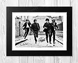 Engravia Digital Poster The Beatles (1) mit Autogramm, Reproduktion, A4 Schwarzer Rahmen