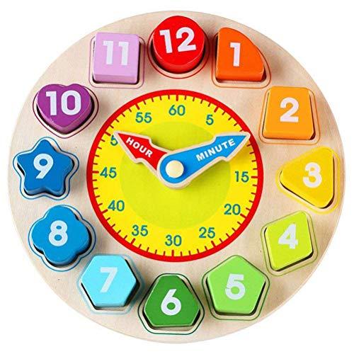 AimdonR Pädagogische hölzerne Form-zusammenpassende Uhr-geometrische Form-Blöcke bringen Spiel-Baby-Geschenk-Spielzeug zusammen
