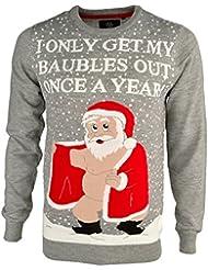 Threadbare Homme 'Rude Santa' drôle Novelty tricoté Noël Pull