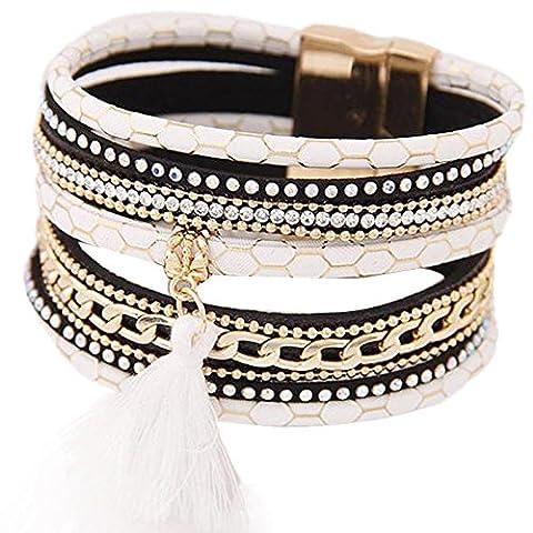 Bracelets, Oyedens BohêMe De Mode Multicouche Houppe En Cuir Charme MagnéTique Bracelet Rigide, Blanc