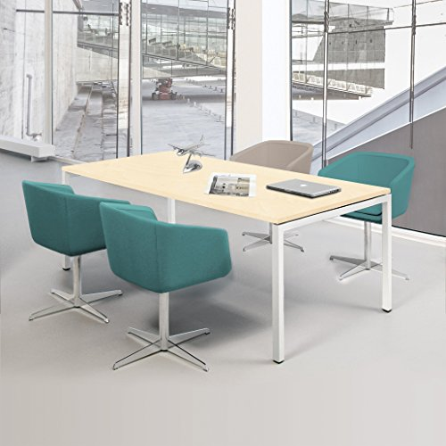 NOVA Besprechungstisch 160x80cm Ahorn 4-6 Pers. Konferenztisch Meetingtisch , Gestellfarbe:Weiß
