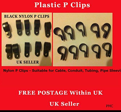 12mm 100Stück schwarz Nylon Kunststoff P Clips Verschlüsse für Kabel, Leitungen, Tubing Rohr sleeven