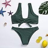 Alaso Bademode Online Kaufen Women Knotted Padded Thong Bikini Mid Waisted Scoop Swimsuit Beach Swimwear(L, Army Green)