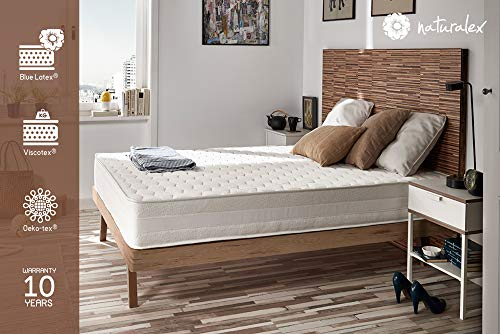 NATURALEX Matelas Deluxe - Mousse à mémoire Viscotex - Noyau en Mousse HR Blue Latex - 7 Zones de...