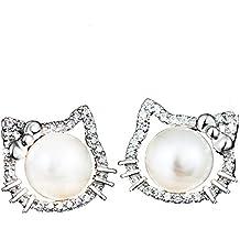 1c5431ff2f01 las mujeres de plata de ley perlas de agua dulce Zircones cúbicos hola  gatito amor gato