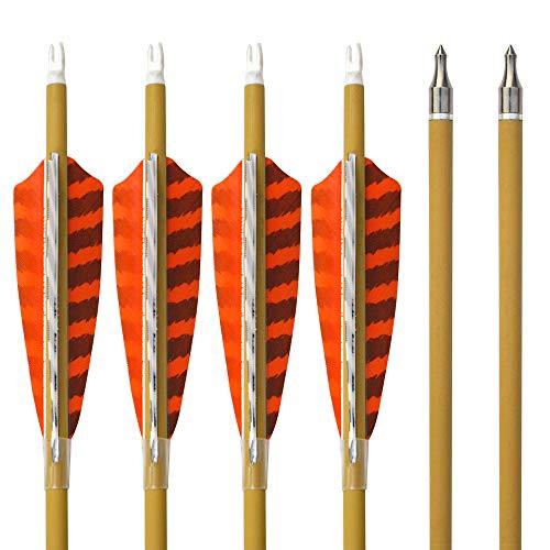 SHARROW 12pcs Carbonpfeile 30 Zoll mit Naturfedern Carbon Pfeile für Bogen Kohlenstoff Pfeil mit Truthahnfeder Spine 500 Bogenpfeile für Compound und Recurvebogen (12pcs)