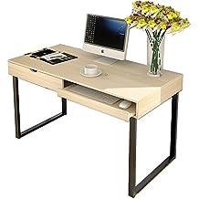 Soges Escritorio Superior de Ordenador de Madera 120x56cm Mesa para Casa, Oficina Escritorio de Estudio, Escritura con Cajón y Teclado, Arce Blanco