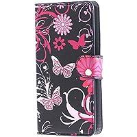 Huawei Y635 Flip Case Cover,PU Leather Wallet Funda Carcasa flip cover para Huawei Ascend Y635 Funda Carcasa con Función Soporte-Mariposa 02