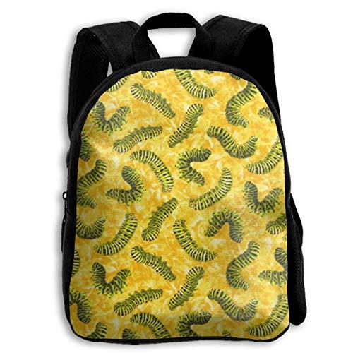 ADGBag Caterpillars Yellow Children's Backpack Kids School Bag with Adjustable Shoulders Ergonomic Back Pad Perfect for School Security Sporting Events Kinderrucksack Rucksack