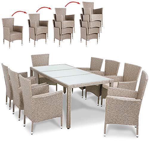 Deuba Poly Rattan Sitzgruppe Grau Beige 8 Stapelbare Stühle & 1 Tisch 7cm Dicke Auflagen Gartenmöbel Garten Set