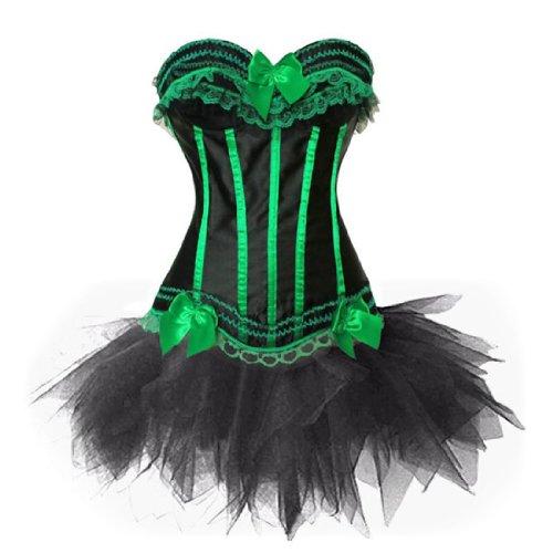 loveorama.de Corsage Kleid Mini Rock Petticoat Tutu Grün Schwarz Streifen Korsett EUR(38-40) XL