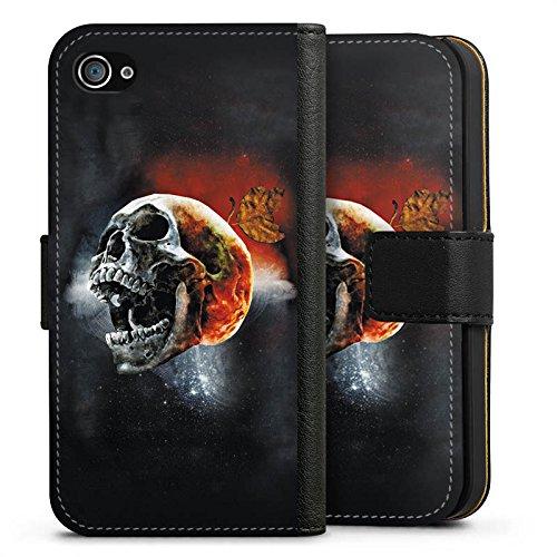 Apple iPhone X Silikon Hülle Case Schutzhülle Totenschädel Kopf Scream Sideflip Tasche schwarz