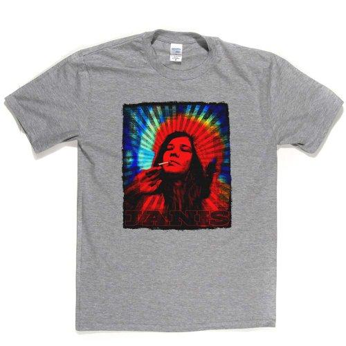 Janis Joplin Psychedelic Trippy T-shirt Aschgrau