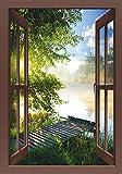Artland Qualitätsbilder I Wandtattoo Wandsticker Wandaufkleber 50 x 70 cm Landschaften Gewässer Foto Grün D3AR Angelsteg am Fluss am Morgen Fensterblick