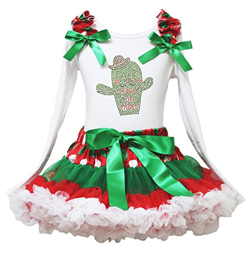 Cinco De Mayo Kleid Kaktus Weiß L/S Baumwolle Shirt Dot Rot Rock Girl Outfit-74bis 122 Gr. Small, Mehrfarbig