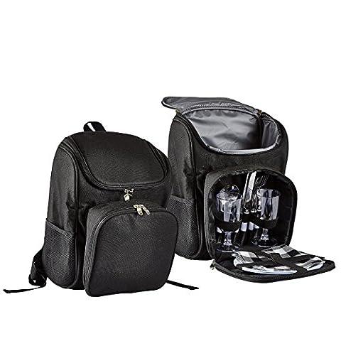 KJ Picknick Rucksack, schwarz, mit Kühlfach, ca. 28 B x