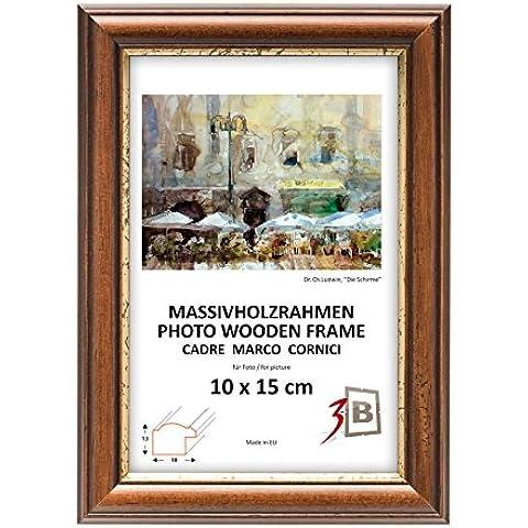 Set di pezzi 3 Cornici BARI RUSTICO - marrone scuro - 15x20 cm - Solide Cornici in Legno per Foto mit Plexiglas