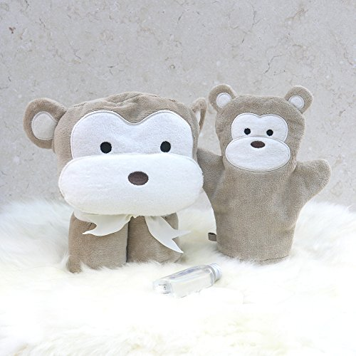 BATHING Bunnies Cheeky Monkey Baby Handtuch Geschenk Set (Monkey Kapuzen-handtuch)