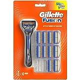 Gillette Fusion - Maquinilla de afeitar + 10 cuchillas de recambio para maquinilla de afeitar