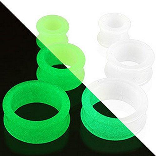 Piercing plug tunnel flexible lumineux dans l'obscurité en sillicone Taille 3 mm Blanc