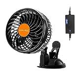 Xcellent Global 24V Car Fan Vehicle Fan Stepless Rotatable Summer Cooling Air Circulator