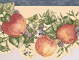 RetroArt Rote Äpfel lila Himbeeren auf Vine gelbe Tapete Grenze Retro-Design, Rollen, 15' x 6,5 ''