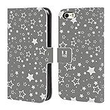 Head Case Designs Sterne Silber Urlaub Kollektion Brieftasche Handyhülle aus Leder für Apple iPhone 5 / 5s / SE