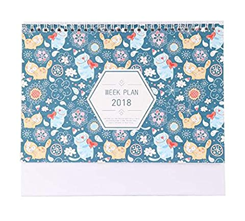 2017-2018 Calendar Monthly, Weekly, Daily, Notebook Desk Calendar-Cat Type
