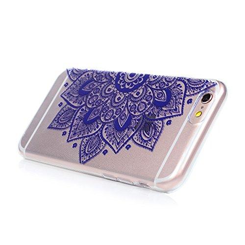 iPhone 6 / 6s Cover Silicone, Custodia Morbida TPU per iPhone 6/ 6s - BADALink Anti Scratch Ultra Slim Case Protettiva - Totem Nero Fiore Totem Viola