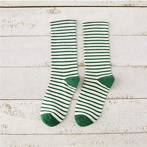 Damen-candy-gestreifte Socken (ODMKGE 3 Paar Herbst Süße Gestreifte Socken Damen Mode Socken Candy Farbe Baumwolle Verdickung)