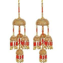 Mansiyaorange Traditional Wedding Wear Punabi Red kalere/Kaleera/Kalera/Bridal Hand Hanging/kaleera for Brides/Girls/Women(AAA AD Stone Premium Range)(9 Inch Long 3 Inch Wide)