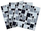 infactory Klebefliese: Selbstklebende 3D-Mosaik-Fliesenaufkleber Modern 26 x 26 cm, 3er-Set (Mosaikfliese)