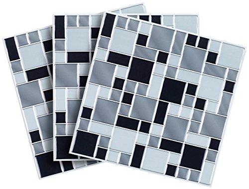 infactory Mosaikfliesen: Selbstklebende 3D-Mosaik-Fliesenaufkleber 'Modern' 26 x 26 cm, 3er-Set (Fliesenfolie)
