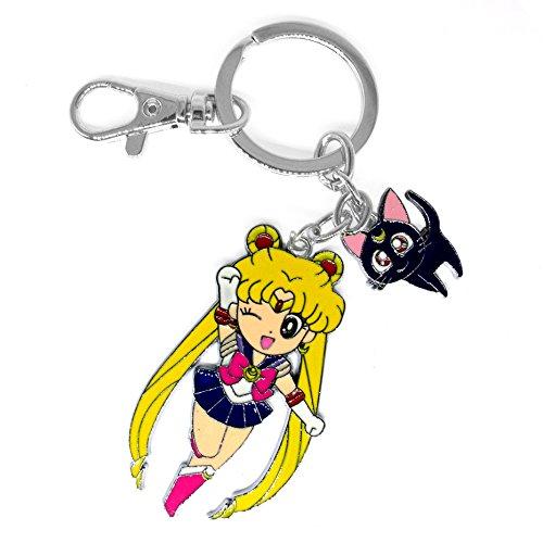 Papapanda Schlüsselanhänger Schlüsselring für Sailor Moon Kette mit Serena Tsukino und Luna Katze Soldier Anime (Cosplay Luna)