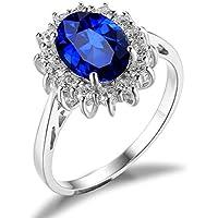 JewelryPalace Gioiello Donna Anelli 3.2ct Principessa Diana William Kate Middleton Creato Zaffiro Blu Scuro Fidanzamento Anello di Promessa 925 Argento Sterling Regalo di San