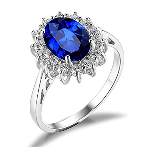 JewelryPalace Princess Diana William Kate Middleton's 2.7ct Created Blue Sapphire Engagement 925 Sterling Silver Ring Size T