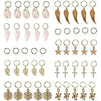 Juanya 50 piezas pelo trenzado anillos pelo charms oro Shell hojas Star Conch Juego de anillos de copo de nieve colgante para el pelo diadema accesorios