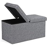 Preisvergleich für SONGMICS Sitzbank 80 L Sitzhocker mit Stauraum Halbdeckel seitlich klappbar 76 x 38 x 38 cm grau LSF41G