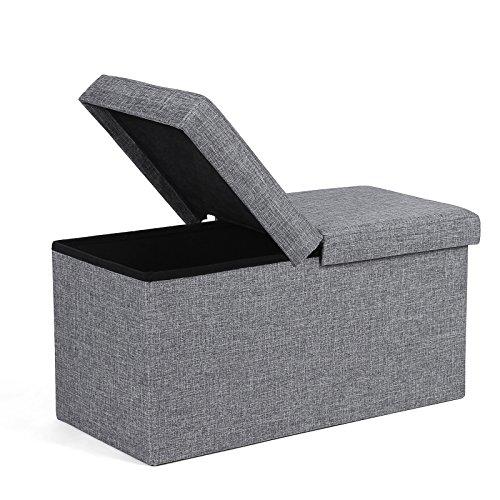 SONGMICS Sitzbank 80 L Sitzhocker mit Stauraum Halbdeckel seitlich klappbar 76 x 38 x 38 cm grau LSF41G