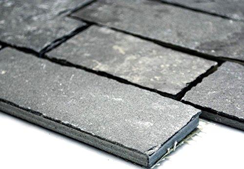 Mosaik-Netzwerk Mosaikfliese Brick anthrazit / Black Jack Schiefer Naturstein Küche, Mosaikstein Format: 146x50/96x50/46x50x10 mm, Bogengröße: 305x305 mm, 1 Bogen / Matte