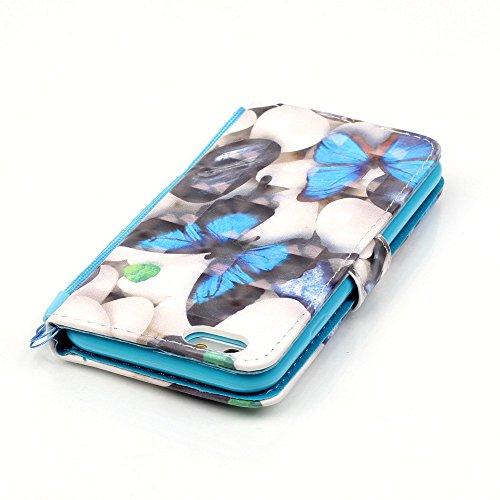 Portefeuille iPhone 7 Coque Blanc, Aeeque® Glitter Animaux Motif [Vache Laitière] Fermeture Aimant et Carte de Crédit Style Lirves Étui Housse en Cuir Case à Rabat pour iPhone 7 Papillon Bleu