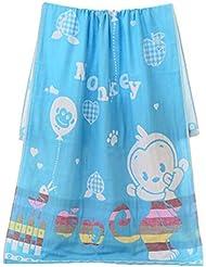 Beau Doux Cartoon Sport Serviettes Enfants Bébés Serviette de bain Blanket Bleu