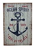 Maritim Wandhänger Schild Ocean Spirit 20 x 30cm Shabby Chic Deko Antik Look