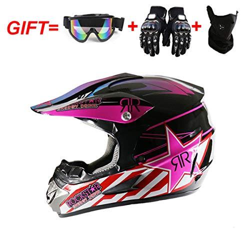 HuAma Vier Jahreszeiten Motorrad Offroad Helm Pink Star Full Helm Mit Brille + Handschuhe + Maske Kopfumfang 54-61cm
