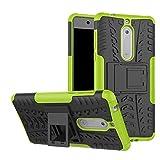 Nokia 5 Hülle,Stilvoller Handyhülle Fall GOGME [Dual Layer Armour Series] Rugged TPU / PC Hybrid Armor Super Schutzhülle. Anti-Scratch PC Rückwand Schale + Stoßfeste TPU Innenschutzabdeckung + Faltbarer Halterungen , für Nokia 5 Case Cover.Grün